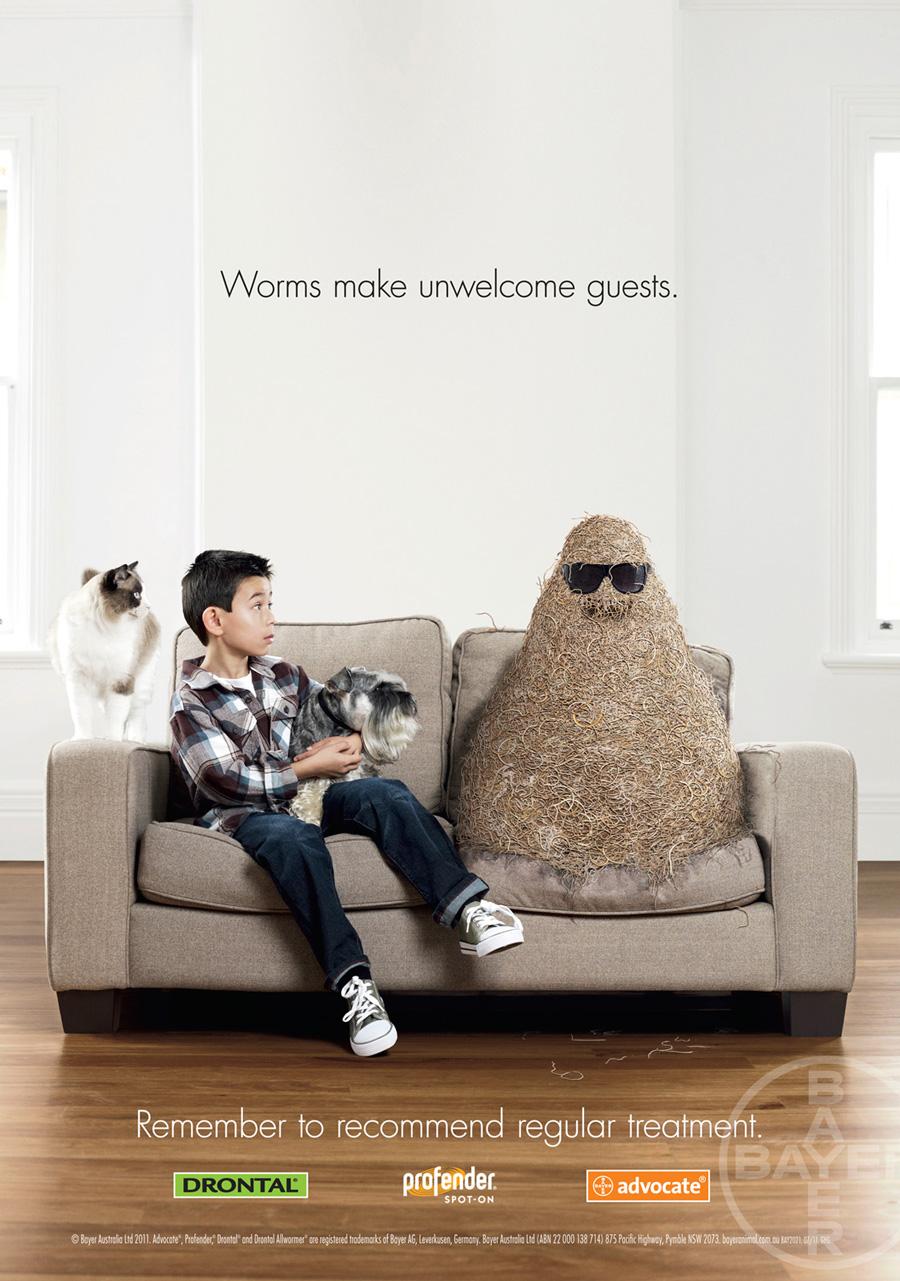 Незваные червячки в рекламе средств для животных.