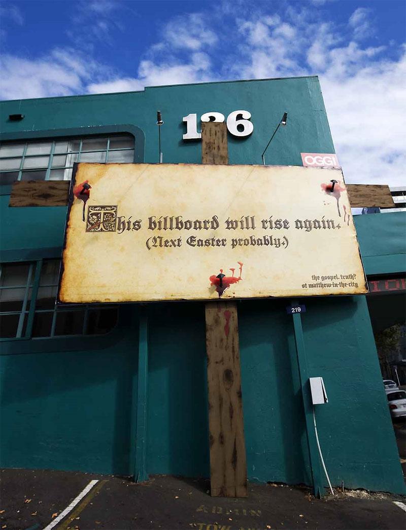 St Matthew-in-the-City Church: пасхальный билборд.