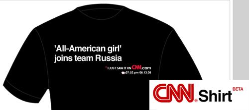 CNN печатают заголовки новостей на майках.