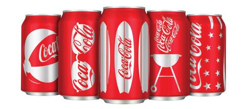 Летний дизайн банок Coca Cola.