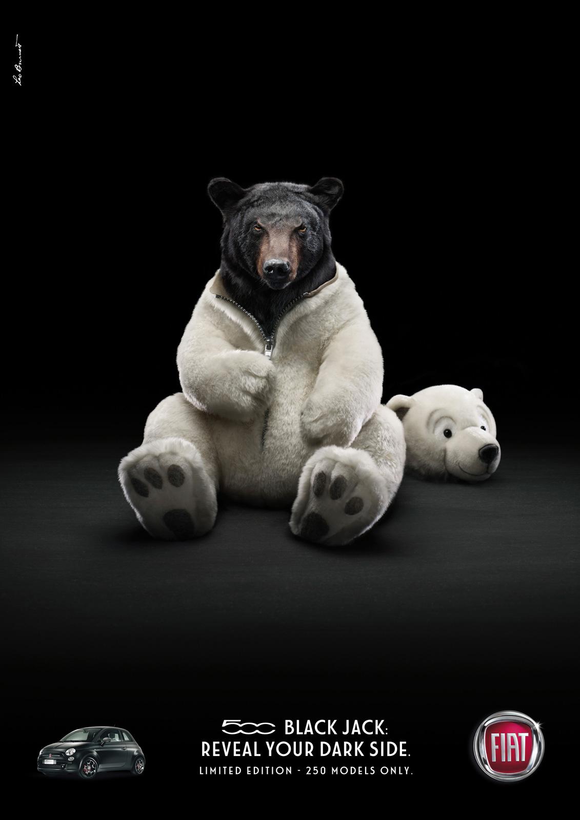 Fiat 500 Black Jack: медведь и пантера в теле плюшевой игрушки.