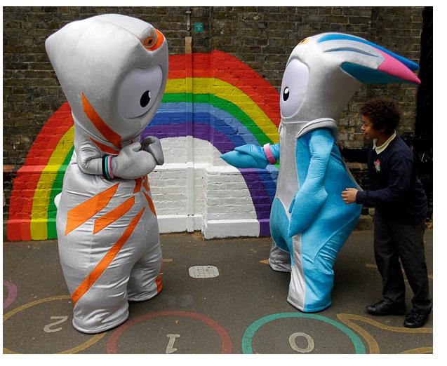 Талисманы олимпийских игр в Лондоне 2012.