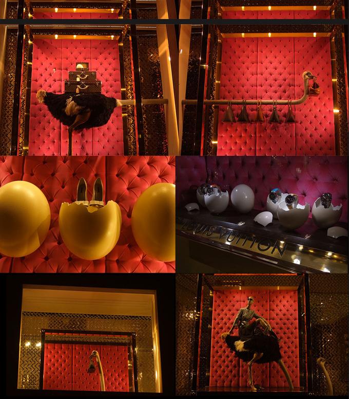 Страусиные яйца в витрине Louis Vuitton.