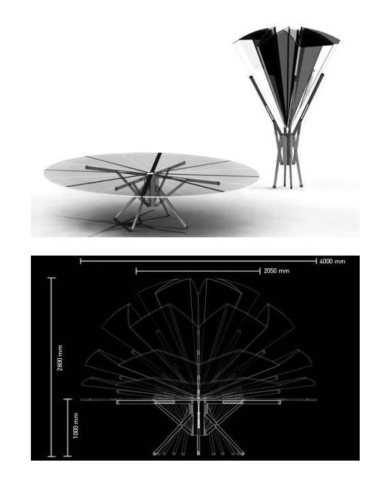 Складной стол-зонтик.
