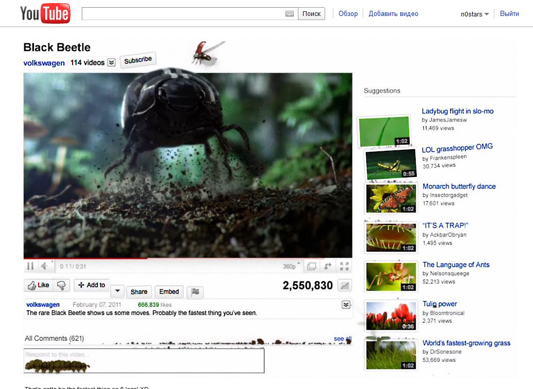 Жуки взорвали Youtube.